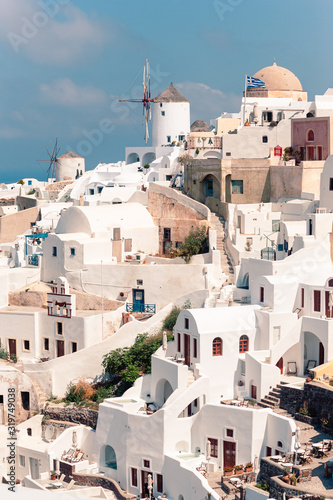 Fototapety, obrazy: Classical casual view on the decoration and architecture of Oia village Santorini at sun weather
