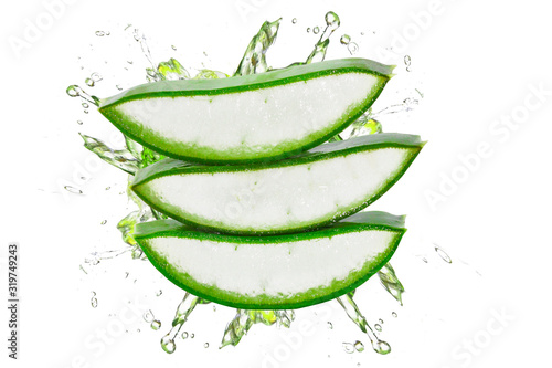 Fotografiet Fresh aloe vera slice isolated on white background