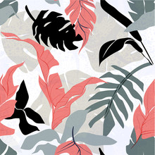 Floral Seamless Background. Rough Edges Shapes, Flowers And Leaves In Perfectly Seamless Art