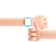 Cartoon Device Mockup. Cartoon Hand With Smart Watch On White Background. 3d Illustration.