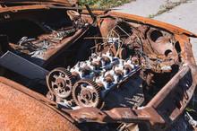 Rusty Abandoned Car Engine