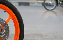 Close-up Of Cropped Bicycle Wheel