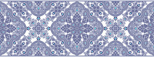 Seamless Blue Border With Trad...