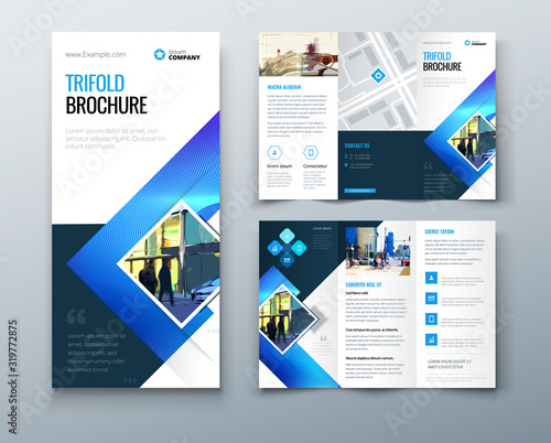 Canvastavla Tri fold brochure design with square shapes, corporate business template for tri fold flyer