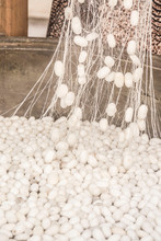 Boiling Silkworm Cocoons To Produce Silk Rope