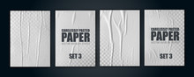 Vector Illustration Object. Badly Glued White Paper. Crumpled Poster.set3
