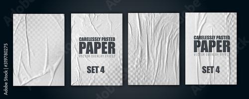 Fototapeta vector illustration object. badly glued white paper. crumpled poster. set4 obraz