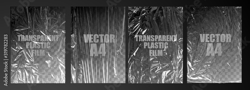 Fototapeta vector illustration. texture transparent stretched film polyethylene. vector design element graphic rumpled plastic warp obraz