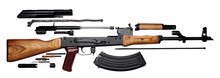 Kalashnikov Assault Rifle Akm Assembled And Disassembled Structure Isolated On White Background