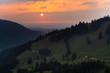 canvas print picture - Blick über das Jenbachtal bei Bad Feilnbach auf das bayerische Voralpenland und den Sonnenuntergang, Bayern, Deutschland