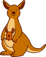 Outlined Brown Kangaroo Mother With Baby