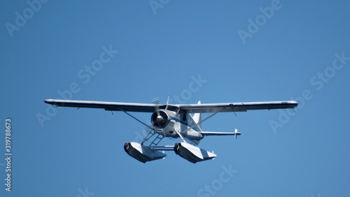 Valokuva Low Angle View Of Seaplane Flying Against Clear Sky