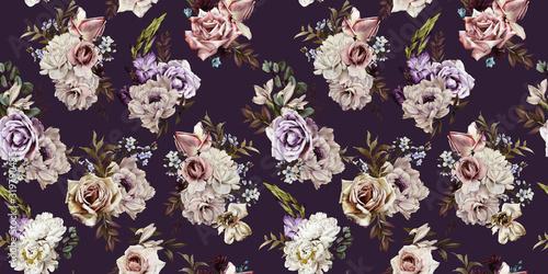 Kwiatowy wzór z kwiatami na ciemnym tle, akwarela. Projekt szablonu dla tekstyliów, wnętrz, ubrań, tapet. Sztuka botaniczna