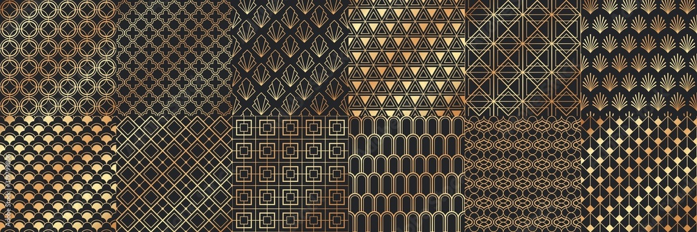 Fototapeta Golden art deco seamless patterns. Luxury decorative geometrical ornaments, gold geometric shapes and vintage pattern vector set. Bundle of elegant retro textures with circles, squares, leafs, waves.