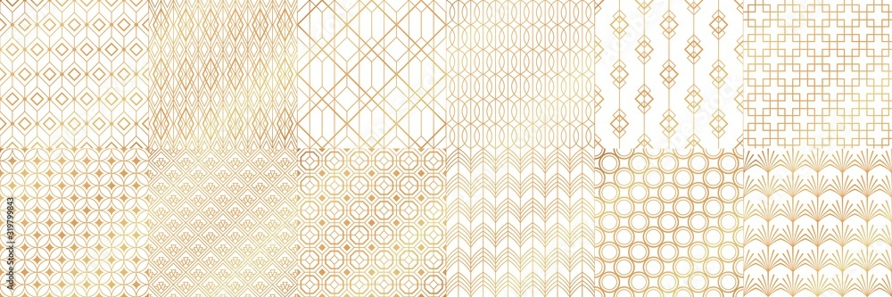 Fototapeta Golden art deco patterns. Decorative tiles, vintage white and gold seamless pattern and geometric stripes vector set. Collection of elegant retro textures or backdrops with shiny lines in 1920s style.