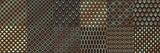 Złote wzory w stylu art deco. Luksusowe ozdobne ozdoby geometryczne, złote kształty geometryczne i zestaw vintage wektor wzór. Pakiet eleganckich tekstur retro z kółkami, kwadratami, listkami, falami.