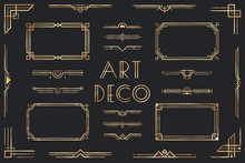 Golden Art Deco Elements. Orna...