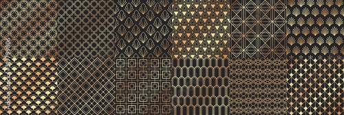 Golden art deco seamless patterns. Luxury decorative geometrical ornaments, gold geometric shapes and vintage pattern vector set. Bundle of elegant retro textures with circles, squares, leafs, waves.