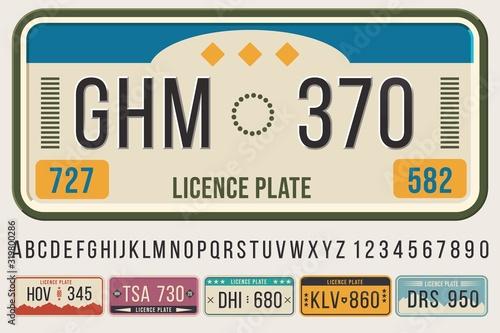License car plates font Wallpaper Mural