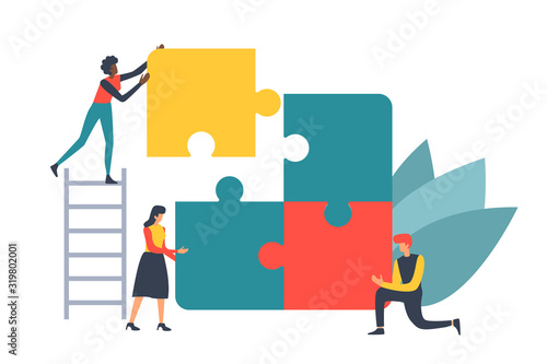 Puzzle teamwork concept illustration for business andfinance walpaper and brochure cover.