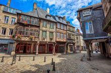 Half-timbered Medieval Houses In Dinan Historical Old Town, Brittany, France