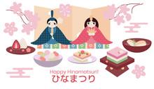 Hina Matsuri (Japanese Girls Festival) Celebration Card. Dolls Of Emperor Family Sitting With Rice Cake, Daifuku Mochi, And Various Festive Dishes. Caption Translation: Hinamatsuri