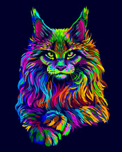 Cat. Abstract, Artistic, Neon-colored Portrait Of A Maine Coon Cat In Pop Art Style On A Dark Blue Background.