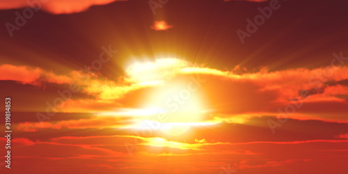 Fototapeta Big sun sky at beautiful sunset, 3d illustration obraz