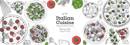 Fotografie, Obraz Pizza, pasta and ravioli cooking and ingredients for pizza, pasta and ravioli , sketch illustration