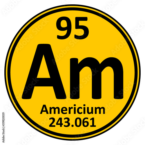 Photo Periodic table element americium icon.
