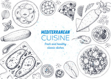 Mediterranean Cuisine Top View...