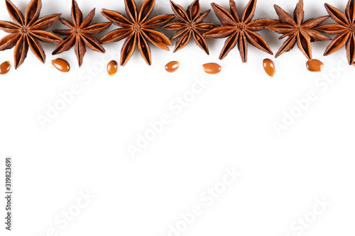 Photo Star anise fruit background with copy space for your idea