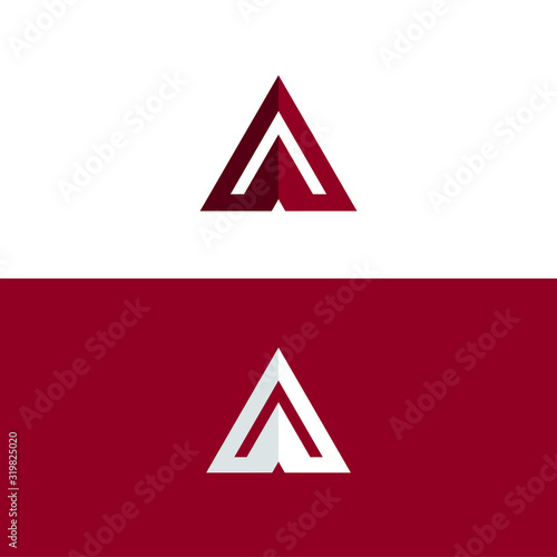 Photo Letter A Logo Geometric Triangle Flat Vector Design