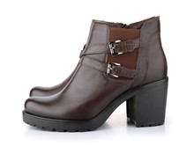 Side View Of Brown Leather Woman Winter Boots