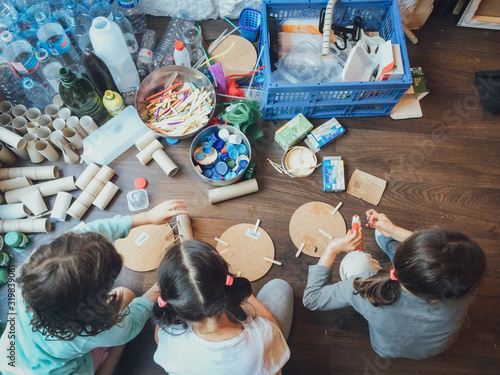 Obraz High Angle View Of Girls Making Art Indoors - fototapety do salonu