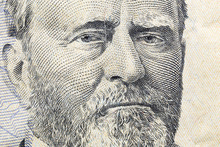 Macro Close Up Photograph Of Ulysses Grant On The US Fifty Dollar Bill.