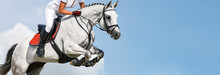 Girl Jumping With White Horse,...