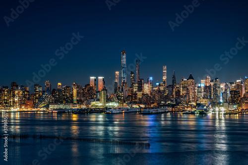 Night light at Hudson River West Midtown Manhattan Buildings Tablou Canvas