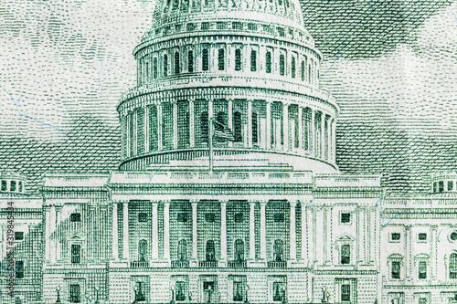 Fototapeta Macro close up photograph of the US Capitol buildingon the fifty dollar bill. obraz