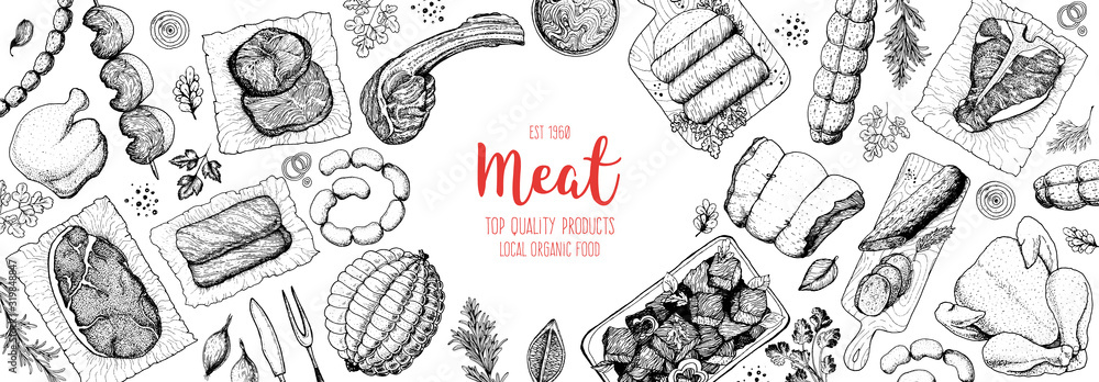 Fototapeta Meat products top view frame. Vector illustration. Engraved design. Hand drawn illustration. Pieces of meat design template. Great for package design. Chicken, beef, pork, sausage, lamb, ham sketch.