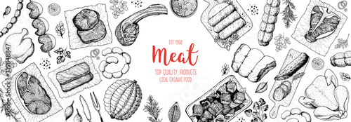 Fototapeta Meat products top view frame. Vector illustration. Engraved design. Hand drawn illustration. Pieces of meat design template. Great for package design. Chicken, beef, pork, sausage, lamb, ham sketch. obraz