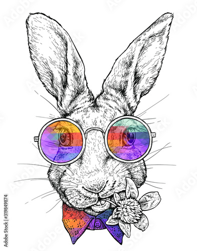 Canvastavla Hand drawn hipster style portrait of Funny Rabbit in glasses