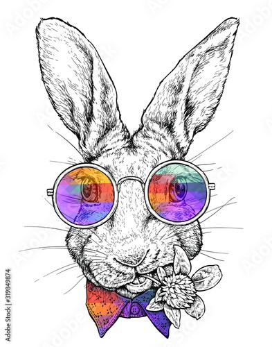 Naklejka na szafę hipster styl - zabawny królik w okularach