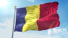 Romania Flag Waving In The Wind Against Deep Blue Sky. National Theme, International Concept. 3D Render Seamless Loop 4K