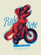 T-rex Riding A Bicycle Laughing. Cute Dino Sports T-shirt Print Vector Illustration.