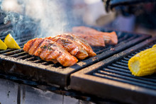 BBQ Fish Steaks. Pieces Of Sal...