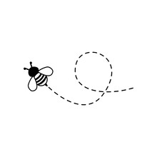 Bee Flying On A Dotted Route I...