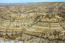 Snow Still Hanging On In Horse Thief Canyon. Drumheller Alberta, Canada.