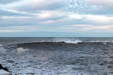 Big Ocean Wave Approaching The Coast In Donostia, San Sebastian, Spain