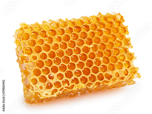 Honeycomb with honey on white background Canvas Print